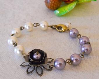 Vintage Rose Bracelet, Friendship bracelet, purple pearls, cream pearls, rose flower, Charm bracelet, Wedding bracelet, Gift
