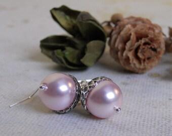 Acorn Drop Earrings, Pink pearls, Silver acorn, Dangle, Cluster, Hoop, Wedding, Bridal, Jewelry, Gift