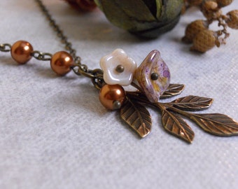 Vintage Leaf  Necklace, Copper pearls, brass leaf, Statement, Lariat, Stand, Necklace, wedding necklace , Free Shipping, gift