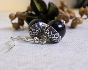 Acorn Drop Earrings, Black pearls, Silver acorn, Dangle, Cluster, Hoop, Wedding, Bridal, Jewelry, Gift