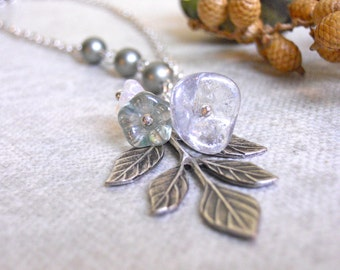 Icy Leaf  Necklace, Leaf pendant, Statement necklace, Lariat, Silver leaf, pearls, bridal, gift
