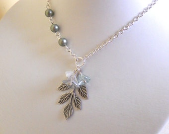 Icy Leaf  Necklace, Leaf Charm Necklace, Statement Necklace, Powder Green  pearls, Stand Necklace, Lariat, Wedding,