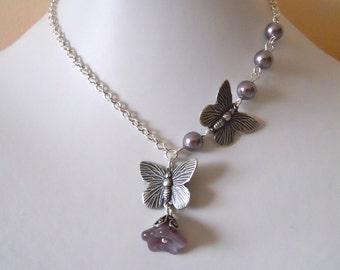 Butterfly Pendant  Necklace, Statement necklace, Lariat, Silver Butterfly, Silver chain, Purple pearls, Gift, Wedding, Free Shipping