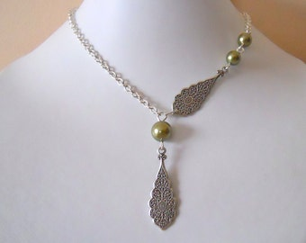 Silver Lace Lariat Necklace, Statement Necklace,  Lace Pendant, Gift, Bridal Jewelry, Silver, Olivine pearls