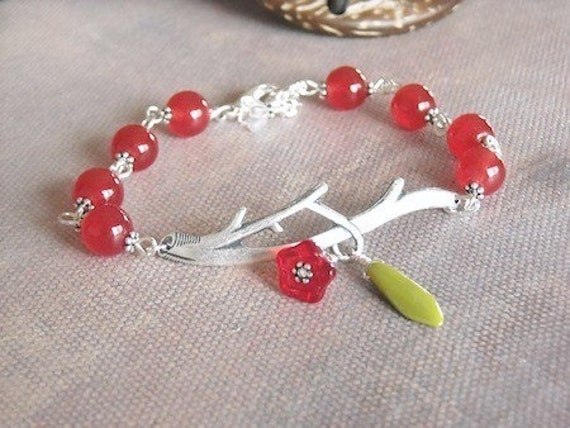 Bliss Bracelet, Cherry and silver bracelet, Twig Bracelet, Bangle, Cuff, Eco-friendly, Wedding, Bridal, Free Shipping