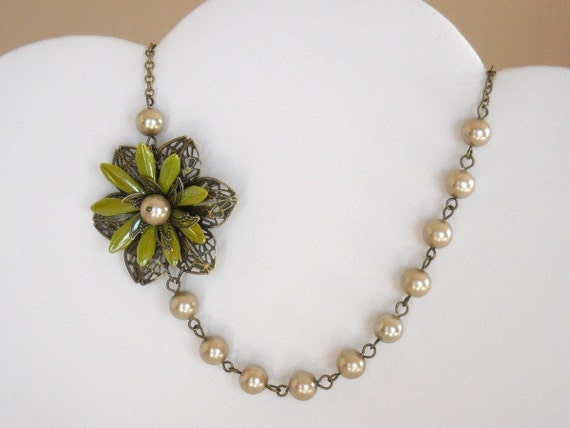 Vintage flower  Necklace, Statement, Choker, Strand,, Bronze , bronze pearls, Blossom Flower, gift, Free Shipping, Bridal necklace