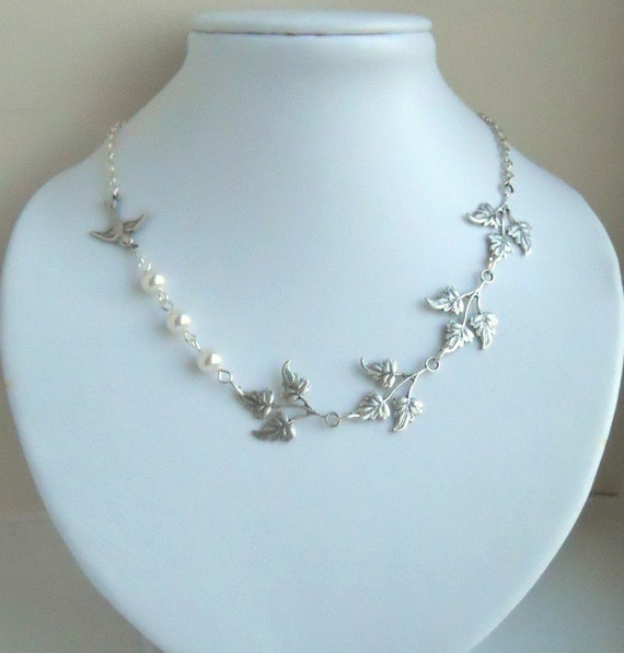 White and Silver Statement Necklace, Lariat, Choker, Pendant necklace,Leaves branch necklace, Wedding Necklace, Free Shipping