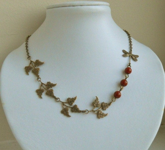 Miranda's Choker Necklace, Statement Necklace, Leaf necklace, Dragonfly, Wedding necklace, Gift, Free Shipping