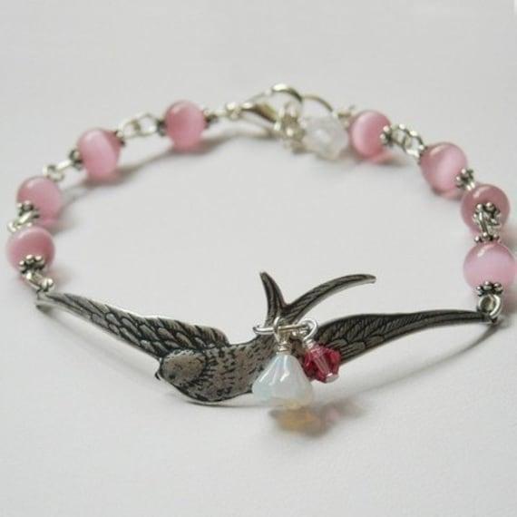 Swallow  Bracelet in Silver, Charm Bracelet, Wedding bracelet,Wrap Bracelet, Pink beads, Free Shipping, gift bracelet