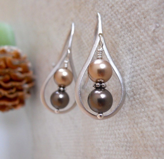 Free Shipping - Simplicity Earrings - Silver brown and Bronze pearls - Brown tone, Gift