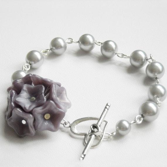 Purple Flowers Charm Bracelet, Silver pearls necklace, wedding bracelet, pearls necklace, bridal
