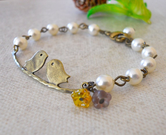 Free Shipping Branch Bracelet Ivory Pearls, Friendship Bracelet, Wedding bracelet, Charm bracelet, bangle, Birds bracelet