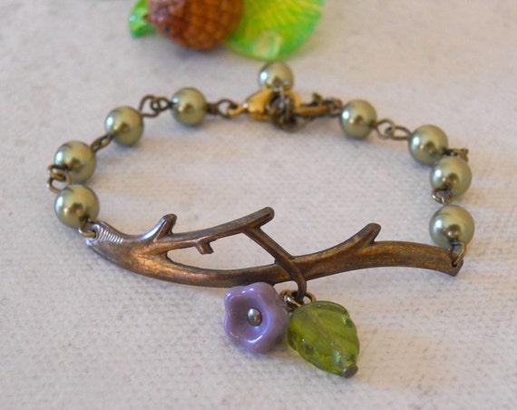 Twig Bracelet , Charm Bracelet Olivine pearls, green leaf, purple flower, brass branch, Bangle, Wedding Jewelry, Gift