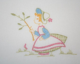 Vintage Baby Sheet Cradle Sheet Embroidered Sheet Girl in Garden