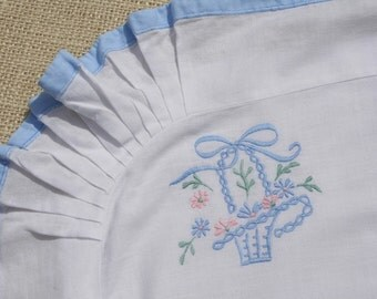 Vintage Pillow Sham Embroidered Baby Sham Blue Flower Basket