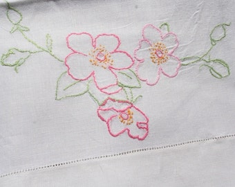 Vintage Linen Pillowcase Embroidered Pillowcase Pink Flowers