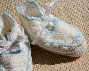 Vintage Baby Booties Crochet Baby Shoes Blue and White