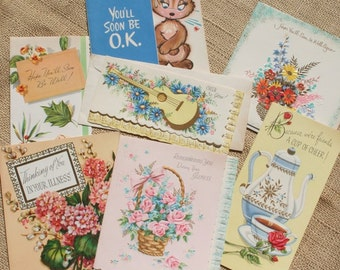 Vintage Cards Get Well Cards Greeting Cards Set of 7