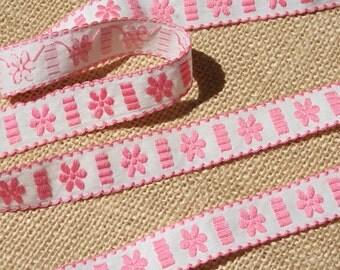 Vintage Ribbon Trim Embroidered Pink Ribbon Trim 2 Yards