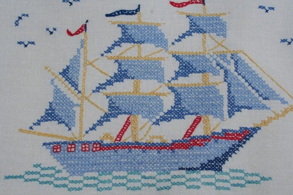 Set of 3 Vintage Doilies Schooner Tall Ship Embroidered