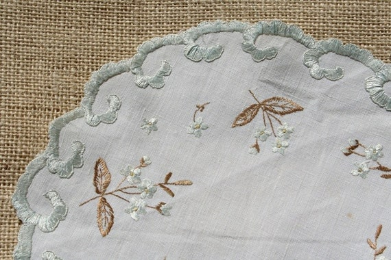 2 Vintage Society Silk Doilies Lace Aqua and Gold