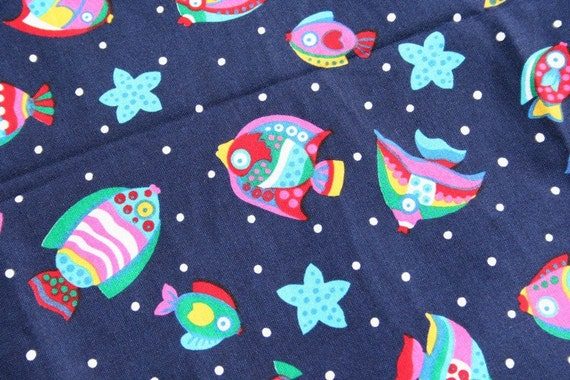 Quilting fabric ocean fabric with tropical fish by for Fish fabric for quilting