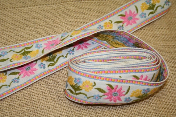 Vintage Ribbon Trim Embroidered Floral Trim Pink Blue Yellow Flowers