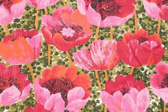 Vintage Fabric Pink Poppies Yardage
