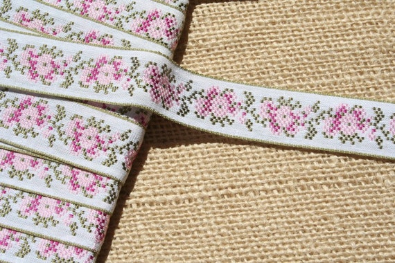 Vintage Jacquard Ribbon Trim Embroidered Trim Pink and Olive Green Flowers LAST YARD
