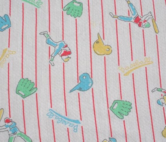 Vintage Baseball Fabric Seersucker Baby Nursery Fabric