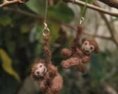Brown Monkey Earrings