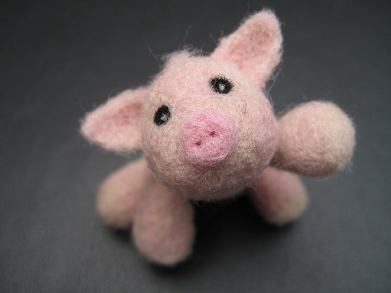Pig Sculpture - Posable and Jointed - Pink Needle Felted Wool