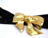christopher ross gold belt . gold bow buckle . collectors item