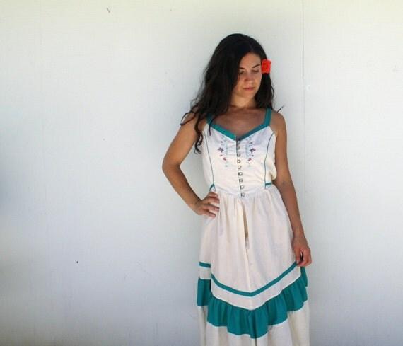 1970s cotton sun dress . prairie summer dress