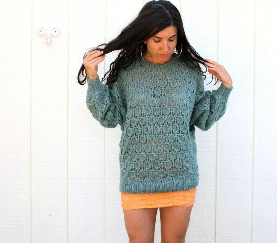 vintage wool sweater . sage green . open weave
