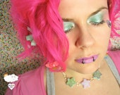 Frosted Pastel Lavender & Minty Lavender Mix Glitter Tri-Shooting Star Resin OOAK Adjustable Choker Necklace