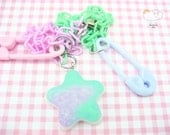 Frosted Lavender Mint Glitter Shooting Star Pink Blue Safety Pin Half n Half Plastic Baby Chain Necklace