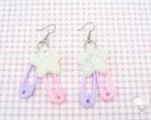 Frosted Pastel Flower Blossom Baby Pink Lavender Plastic Safety Pin Drop Shooting Star Dangle Fish Hook Earrings