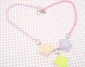 Frosted Pastel Pink Lavender Yellow Glitter Tri-Shooting Star Resin Pink Lavender Baby Chain Necklace
