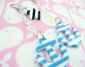 Blue White Stripe White Baby Plastic Chain Drop Anchors Away Earrings