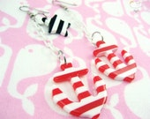 Red White Stripe White Baby Plastic Chain Drop Anchors Away Earrings