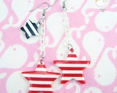 Red White Striped Star White Baby Plastic Chain Drop Anchors Away Earrings