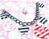 Red White Stripe North Star White Baby Plastic Chain Anchors Away Necklace