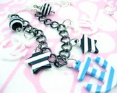 Blue White Stripe North Star White Baby Plastic Chain Anchors Away Necklace