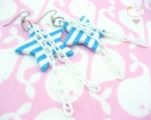 Blue White Striped Star White Baby Plastic Chain Dangle Anchors Away Earrings