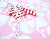 Red White Striped Star White Baby Plastic Chain Dangle Anchors Away Earrings