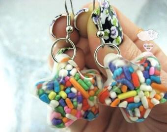 Rainbow Long Sugar Sprinkles Shooting Star Resin Dangle Fishhook Earrings