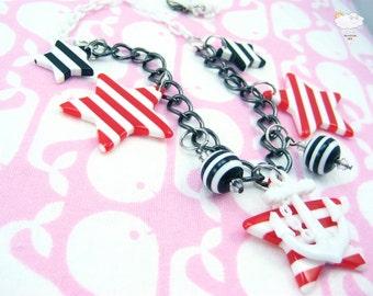 Red White Stripe Star White Anchor North Star White Baby Plastic Chain Swarovski Sparkle Anchors Away Necklace