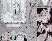 NEW Halloween A Ghastlie Gallery in Smoke- Alexander Henry 1 Yard Fabric