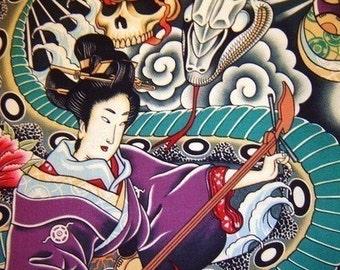 Zen Charmer Geisha Asian Japanese fabric - Alexander Henry Scenic 1 Yard Fabric